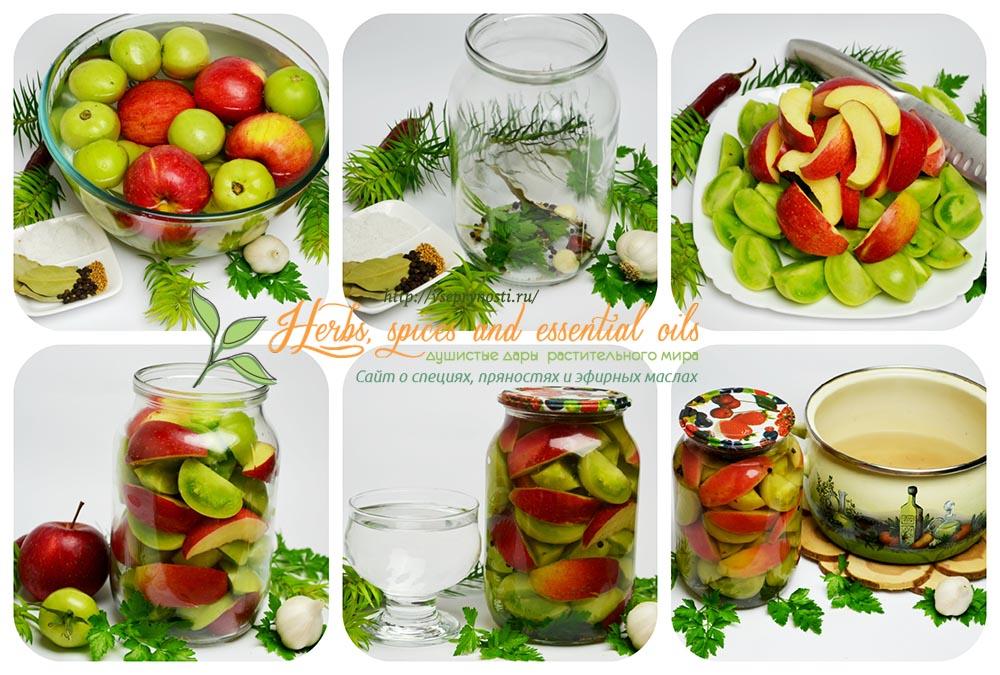 маринованные зеленые помидоры с яблоками