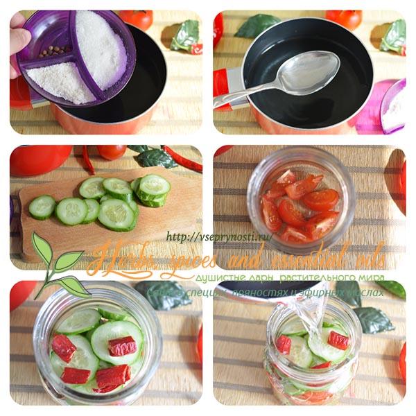 Салат из огурцов и помидоров слоями на зиму